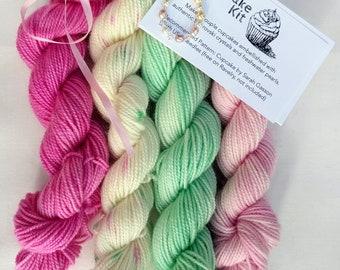 Cupcake Kit, Sock Yarn, Indie Hand Dyed, Mini Skein Superwash Merino Wool, Swarovski crystals, Pinks, Mint, Dots, Speckled Unbirthday Gift