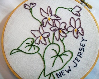 New Jersey, Hoop Art, Embroidery Hoop Art, State Hoop Art, New Jersey with the state flower Purple Violet