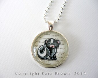 Skunk Necklace Glass Art Pendant with Chain cute Silver plated skunk jewelry