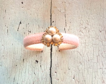 Narrow Adjustable Cuff with Pearl and Rhinestone Nest