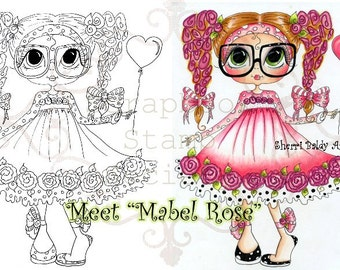 INSTANT DOWNLOAD digitale Digi Stamps Big Eye Big hoofd poppen Digi Mabel steeg met Sherri Baldy