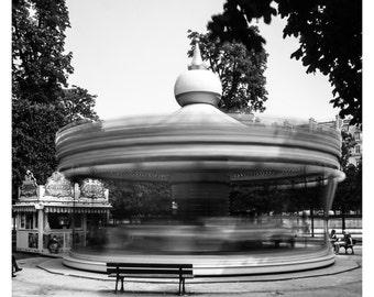 Paris Photography, Black and White, Fine Art Print, Carrousel Jardin des Tuileries, Paris photography, French Home Decor, 5x7, 8x10