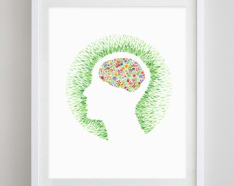 The Mind Floral Watercolor Art Print - Proceeds go to BBRF
