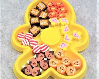 Small Cookies Eraser In Soft Ginger Breadman Plastic Case - 36pcs/case