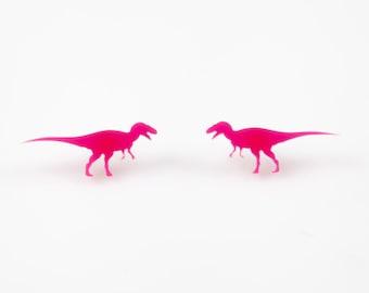 T-Rex Dinosaur Studs. T-Rex Earrings. Laser Cut Acrylic Dinosaur Studs. Laser Cut Colour Perspex. Statement Earrings. Dinosaur Jewellery