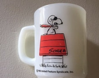1965 Snoopy Red Baron Mug Made by Fire King