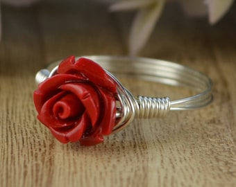 Red Rose Ring- Sterling Silver, Yellow or Rose Gold Filled Wire Wrapped with Red Carved Gemstone Rose - Any Size 4 5 6 7 8 9 10 11 12 13 14