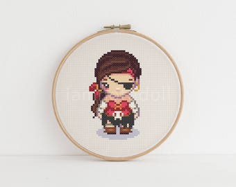 Pirate - a cute pixel art counted cross stitch pattern