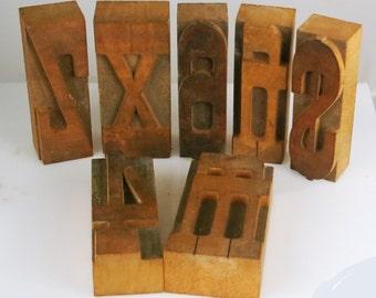 Holz-Buchstaben / Zahlen - dekorative Grafiker Blöcke 4 6 M H X Z Dollarzeichen - Block Druck Stempel Nummer 4, 6/9, Buchstaben M H X Z Dollar