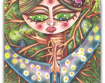 """Willow Watkins - a whimsical coloured pencil 8 x 10"""" ART PRINT of a tree goddess and forest protector with a beautiful starry night sky"""