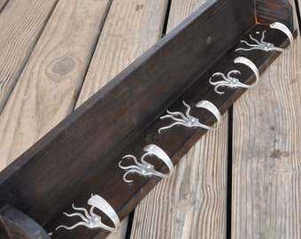 5 Fork Hook Coat Rack with Shelf Stained Brown Black Recycled Silverware