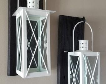 Set of 2 MEDIUM Rustic Wall Mounted Lantern Sconces with WHITE Lanterns