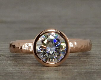 Rose Gold Engagement Ring, 1.25 Carat Forever One D-E-F Moissanite and Recycled Gold with Hybrid Peekaboo Bezel, Eco Friendly, Made to Order