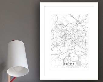 Poster city map Fulda (approx. 21 x 30 cm, A4), poster - postcard, Fulda map, Fulda-illustration, Fulda-souvenir