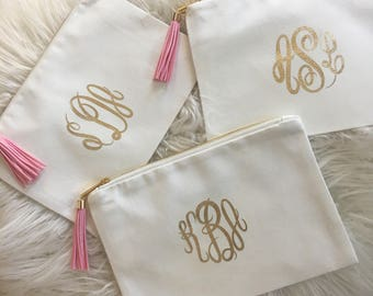 Monogrammed Cosmetic Bag, Personalized Cosmetic Pouch, Bridesmaid Gift, Makeup Bag, Tassel Bag, Bridal Gift