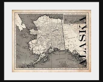 Alaska Map - Map of Alaska - Poster - Print - Sepia
