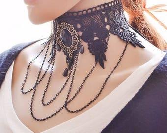 Elegant Gothic black lace collar with Medallion