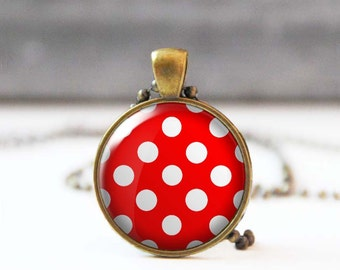 Polka dot necklace, Red and white round picture Cabochon necklace, Rockabilly Jewelry, Gift for mon, Retro 50's necklace, 5007-1