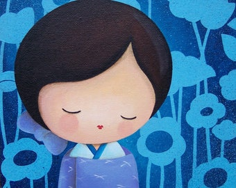 Gift for mother's day - acrylic painting on canvas Board: Michiko and flowers (kokeshi, floral background)
