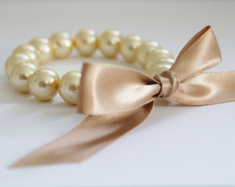 Cream Pearl and Champagne Ribbon Bracelet