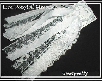 PONYTAIL HOLDERS, Lace Ponytail Streamers, White ponytail holders, Ivory ponytail holder, Girls ponytail streamers, Summer hair accessories,