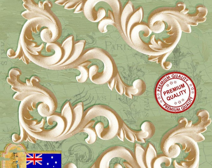 4 x Shabby Chic French Furniture Mouldings, Furniture Corner Decorations or Furniture Center Resin Appliques. Made in Australia