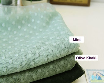 "Mesh Fabric with 4 mm Dots - Mint or Olive Khaki - 62"" Wide - Fabric By the Yard V1"