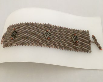 Copper and Brown Peyote Embellished Bracelet