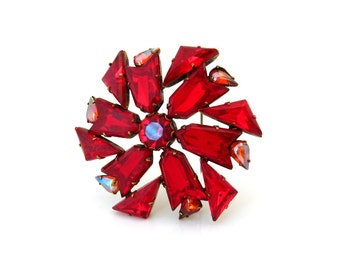 Vintage COPYRIGHT Red Chevron Arrow Triangle Rhinestone Brooch, High End Vintage Pin, 1960s Costume Jewelry