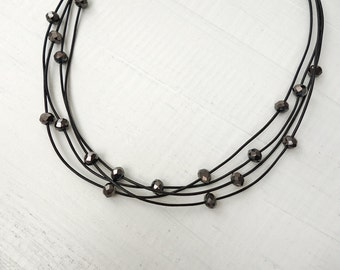 Leather choker necklace layered leather necklace black cord choker black glass beads
