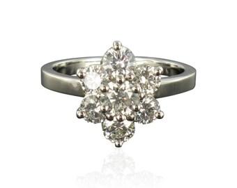Ring Platinum Diamond Daisy Platinum modern classic