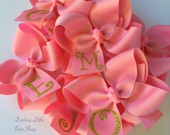 Glitter Monogrammed Bow - you choose initial and colors - shown is pink and gold - 4 inch or 5 inch bow with gold, silver or pink monogram