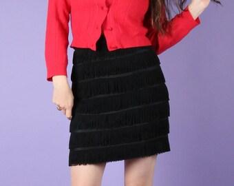 Fabulous 90s Vintage CUE Tassel Fringe Mini Skirt