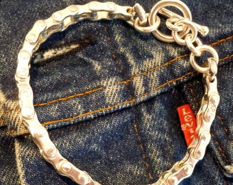 Motorcycle Chain Bracelet in Sterling Silver - EB058