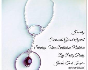 January Birthstone   Garnet Crystal   Sterling Silver Necklace
