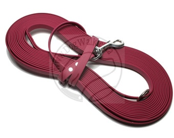 "Wine Merlot -   Waterproof Long Line - 1/2"" (12mm) wide Genuine Biothane - Tacking Line Recall Leash - Choice of hardware and length"