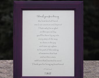 Best Friend Wedding Gift Maid of Honor Gift Bridesmaid Gift Best Friend Poem Custom Poetry Maid of Honor Poem Bridesmaid Poem