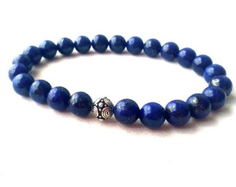 Mens Lapis Lazuli Bracelet Mens Beaded Bracelet, Mens Jewelry, Men Throat Chakra Bracelet, Positive Relationships & Happy Marriage