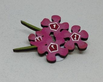 Pink Geraldton Wax Flower Brooch, Geraldton Wax Flower, Hand Painted Flower Brooch, Australian Flower, Wildflower, Australian Brooch, Flower
