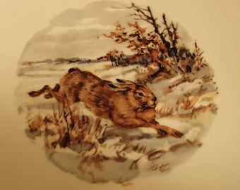 """RABBIT in WOODS PLATE Schumann Arzberg Germany Bavaria Collector Hanging Decor 7-3/8"""" Gold Trim"""