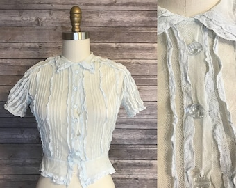 1940s Lace Fitted Blouse / 40s Pointed Collar Glass Button Peplum Top / Vintage Shirt