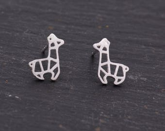 Sterling Silver Super Cute Dainty Little Geometric Origami Giraffe Stud Earrings, Fun and Quirky, Textured Finish, Animal Jewellery  H7