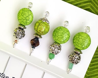 Fresh Green Decorative Pin Assortment, Set of 4, Stick Pin, Beaded Pin, Sewing, Cards, Pincushion pins, Quilting, accessory, Scarf Pin