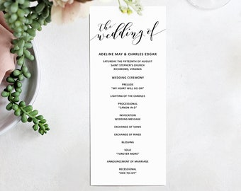 Printable Wedding Program   Wedding Program Template   Digital Download for Word   Customizable   Printable Wedding Invitation Suite