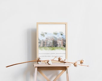 Mississippi State Lee Hall Watercolor Print