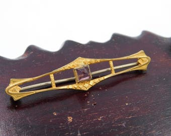Antique Victorian Era Gold Plated Bar Pin or Brooch with a Purple Amethyst Glass Stone ?  dr30