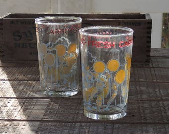 Looney Tunes Juice Glasses Set of 2, Vintage Jelly Jars, Enameled Swanky Swigs, Retro Glassware, Home and Living