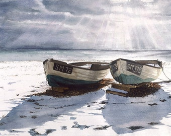 Watercolour Giclée print boats on a snow covered beach