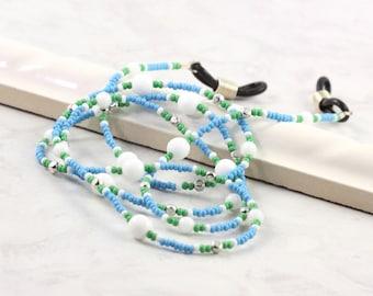Blue Eyeglass Holder Office Fashion Beaded Lanyard White Eyeglass Leash Green Eyeglass Chain Silver Eyeglass Lanyard