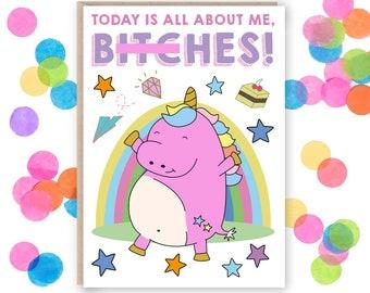 Unicorn Birthday Card - Unicorn Card - Funny Unicorn Card - Funny Birthday Card - Birthday Card For Friend - Unicorn - Birthday Card For Her